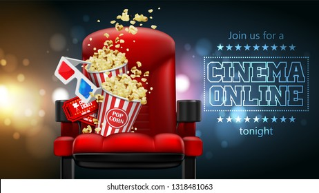 Popcorn, glasses and tickets  on a theater chair. 3D vector. High detailed realistic illustration