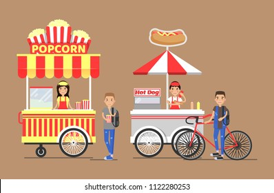 Popcorn hot-dog street cart and vendors set.Outdoor food snacks from carts with sellers in apron. People buy fastfood vector illustrations on beige backdrop