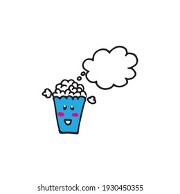 popcorn icon with eyes and smiley face on white background. popcorn kawaii emoticon. cute emoji with speech bubble for text. hand drawn vector. doodle art for sticker, clipart, poster, comic book.
