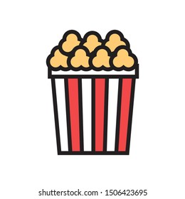 popcorn icon in flat style isolated. Cinema Vector Symbol illustration.