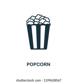 Popcorn icon. Monochrome style design from cinema collection. UX and UI. Pixel perfect popcorn icon. For web design, apps, software, printing usage.