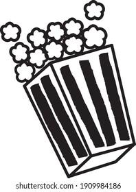 Popcorn icon Vector Cartoon logo