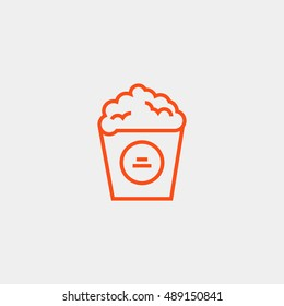 Popcorn icon vector, clip art. Also useful as logo, web element, symbol, graphic image, silhouette and illustration. Compatible with ai, cdr, jpg, png, svg, pdf, ico and eps.