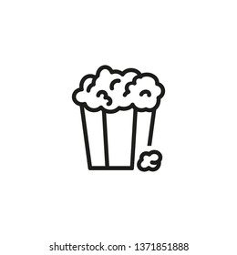 Popcorn line icon. Pop corn, bucket, box. Cinema concept. Vector illustration can be used for watching movie, takeaway food, snack