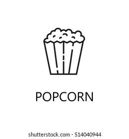Popcorn line icon. Single high quality symbol of fast food for web design or mobile app. Thin line signs of popcorn for design logo, visit card, etc. Outline pictogram of popcorn.