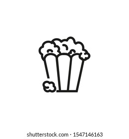 Popcorn line icon. Snack, bucket, cinema. Movies concept. Vector illustration can be used for topics like entertainment, cinematography, leisure
