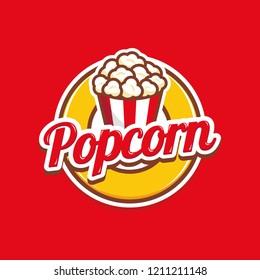 Logo-Abzeichen für Popcorn mit Abbildung von Popcorn in Eimern