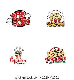 Popcorn logo set vector