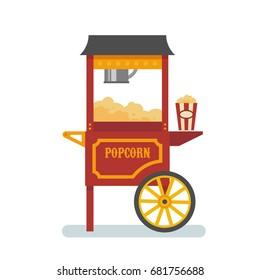 Popcorn machine flat illustration