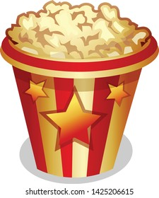 Popcorn for Movie time. Isolated cinema icon.