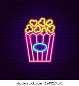 Popcorn Neon Sign. Vector Illustration of Snack Promotion.