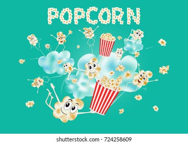 Popcorn on the clouds. Airy popcorn. Cartoon happy cute popcorn character for fastfood design. Vector illustration