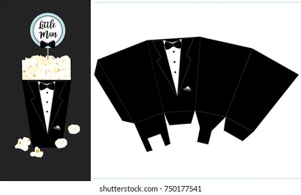 Popcorn paper box. Printable template for little man's birthday party. Black groom tuxedo - candy packing. Print and cut. Fast folded.