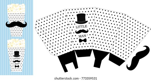 Popcorn paper box. Printable template for little man's birthday(baby shower boy) party. Black dots on white background - candy packing. Print and cut. Fast folded. Mustache bash. Classic trendy style