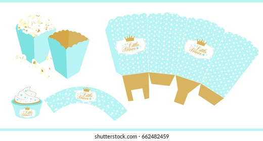 Popcorn paper box template. For little prince