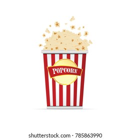 popcorn in paper red and white bag illustration