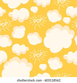 Popcorn pattern. Bright seamless background with pop on a yellow background.