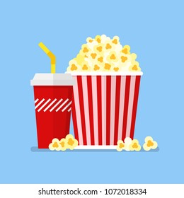 Popcorn snack and drink in flat style. Vector illustration