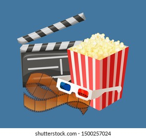 Popcorn snack in package, movie clapperboard with date and time of filming, special glasses for watching 3d films in cinema halls isolated. Vector illustration in flat cartoon style