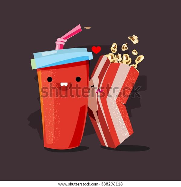 попкорн и сода. характер попкорн коробка поцелуев соды чашка. фильм любовник концепция - векторная иллюстрация