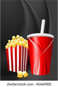Popcorn and Soda on Black Wave Background Original Vector Illustration