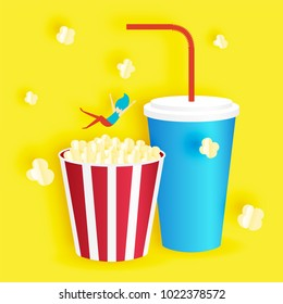 Popcorn and soft drink in paper art style vector illustration