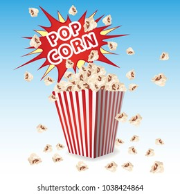 Popcorn in a striped container, the explosion of the inscription of exploding popcorn