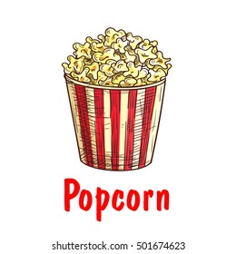 Popcorn takeaway bucket sketch. Sweet popped corn in white and red striped box icon. Cinema fast food cafe sign, snack food symbol design
