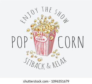 popcorn with typography slogan