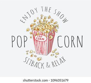 popcorn with typography slogan