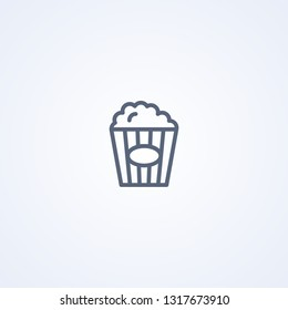 Popcorn, vector best gray line icon on white background, EPS 10