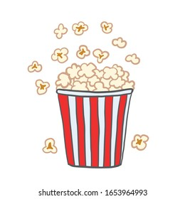 Popcorn. Vector color illustration in cartoon style. Drawing popcorn.