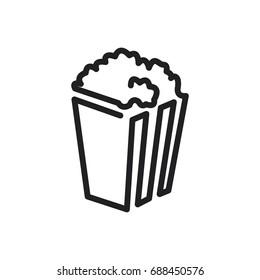 Popcorn vector icon. One line style
