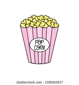 Popcorn vector outlined illustration. Pink striped paper box full of popcorn.