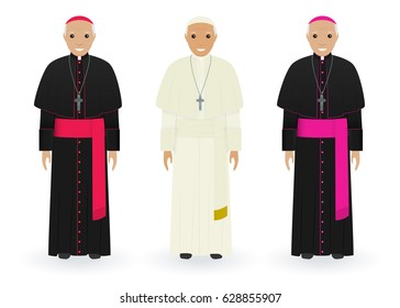 Pope, cardinal and bishop characters in characteristic clothes isolated on a white background. Supreme catholic priests stand together in cassocks. Religion people concept. Vector illustration