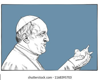 Pope Francis, the 266th and current Pope and sovereign of the Vatican City State. Moscow,2018 August,31
