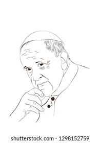 Pope Francis. Argentine Nationality. He is the head of the Catholic Church and sovereign of the Vatican City State. Vector outline image Pope Francis.