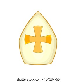 Pope hat icon in cartoon style isolated on white background vector illustration