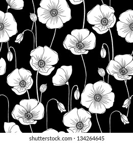 Poppies b/w vector seamless pattern.