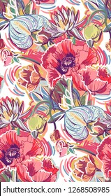 poppies colorful vector design flower art painting decoration wallpaper seamless pattern garden