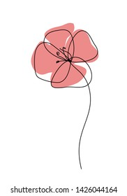 Poppies flower continuous line drawing. Abstract minimal poppy. Editable vector line. Poppy flower icon, logo, label.