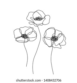 Poppies flowers continuous line drawing. Editable line. Black and white art