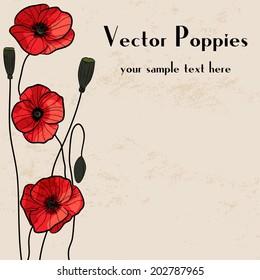 Poppies frame. Grunge background.