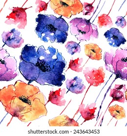 Poppies. Greeting card. Watercolor floral pattern. Seamless floral pattern.