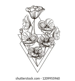 Poppies. Outline vector illustration isolated on white background for tattoos, coloring, engraving and much more.