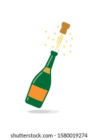 popping champagne bottle isolated cartoon vector illustration