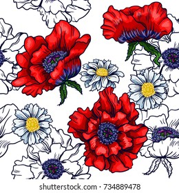 Poppy and   camomile on white background. Seamless background pattern. Hand drawn vector illustration.