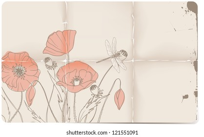 Poppy doodles on aged paper