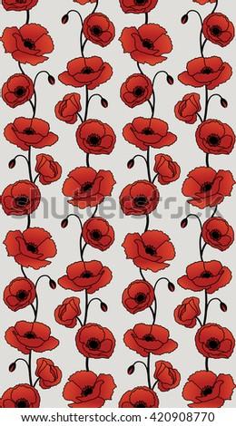 Poppy Flower Pattern Stock Vector Royalty Free 420908770