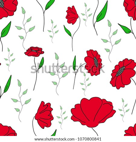 Poppy Flower Pattern Summer Flowers Pattern Stock Vector Royalty